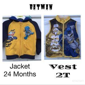Batman Gold Blue Hoodie Zip Up Jacket Puffer Vest